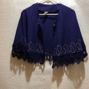 Vintage Purple Shawl with Rhinestone Clip